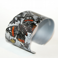 Hand printed butterfly and bee cuff