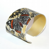 Hand printed butterfly and bee cuff yellow