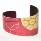 Hand printed seed head bracelet - red