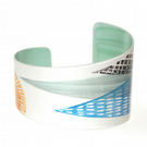 Hand printed mountain cuff - blue and orange