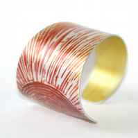 Hand printed sunburst cuff - red and orange