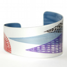 Hand printed mountain cuff - purple and red