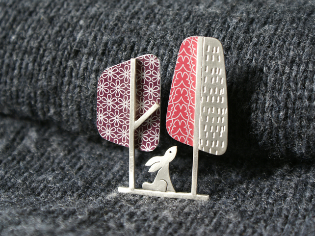 Hare and trees brooch