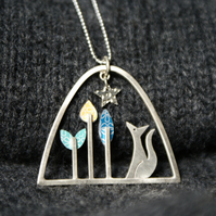 Fox and flower necklace
