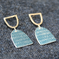 Blue and silver stud dangle earrings