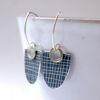 Grey and silver drop earrings