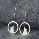 Silver mouse drop earrings