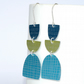 Turquoise, lime and navy dangle earrings
