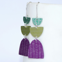 Pink and green dangle earrings
