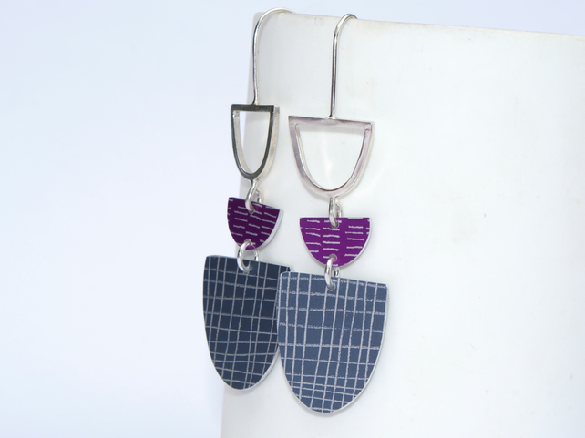 Grey and pink drop earrings