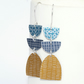 Mustard, grey and navy dangle earrings