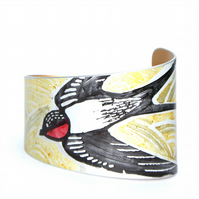 Hand printed swallow bracelet - yellow