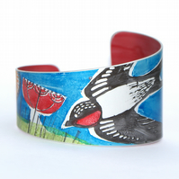 Hand printed swallow bracelet - blue