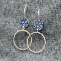 Silver and grey starry hoop earrings