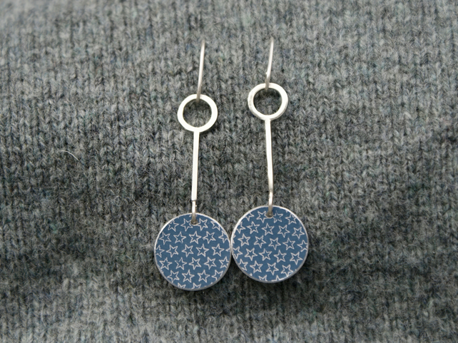 Silver and grey small starry drop earrings