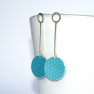 Silver and turquoise starry drop earrings