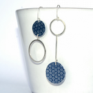 Silver and grey starry mismatched drop earrings