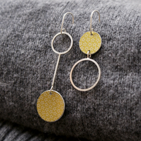 Silver and soft gold starry mismatched drop earrings