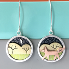 Little strolling fox earrings