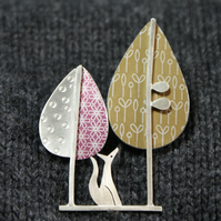 Fox and trees brooch