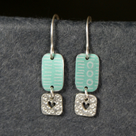 Mint and silver dangle heart earrings