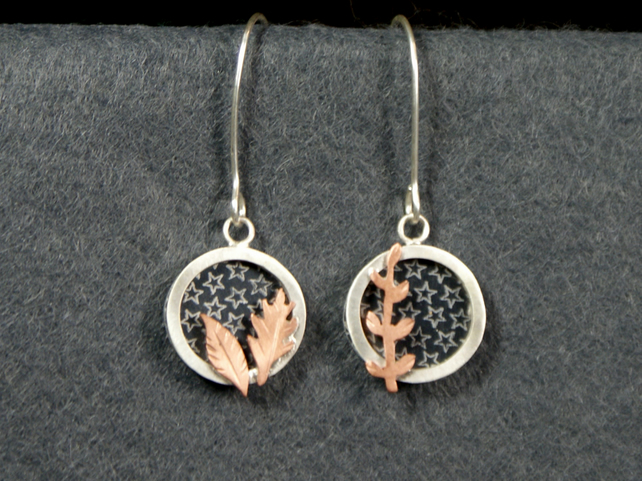 Star and leaf mismatched earrings