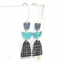 Grey and teal dangle earrings