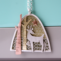 'Winter Walk' deer necklace