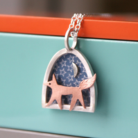 Mini Fox and Moon Necklace