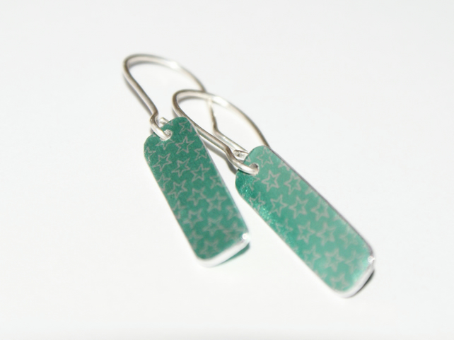 Special Price - Mint green oblong drop earrings
