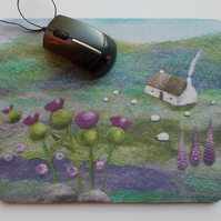 Mouse Mat Printed Pink Thistle Bothy