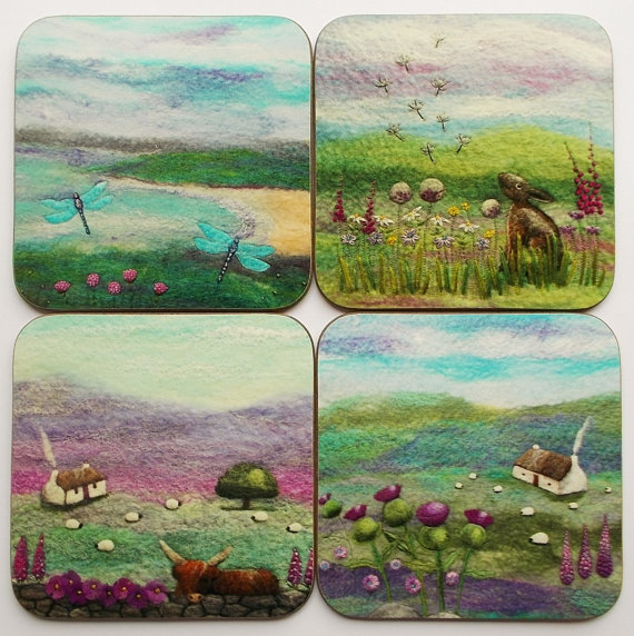 Set of Four Luxury Coasters Scottish Felt Art