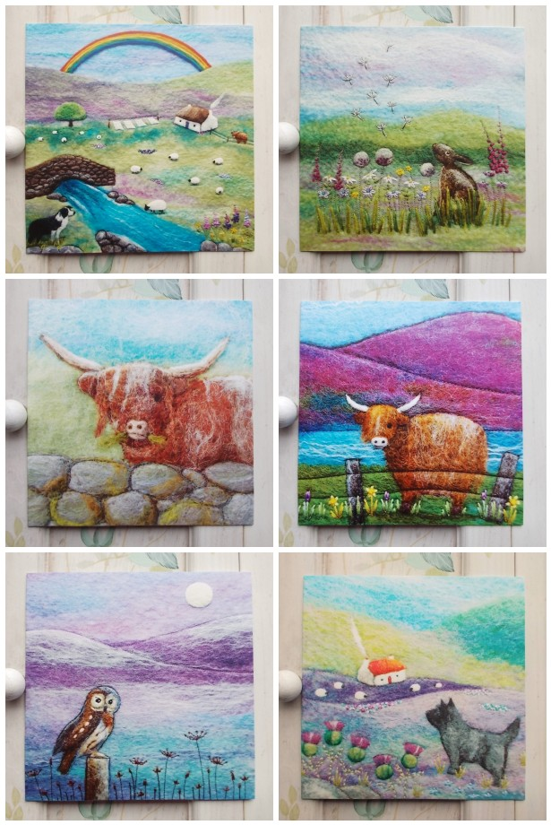 Set of Six Blank Cards Scottish Animals