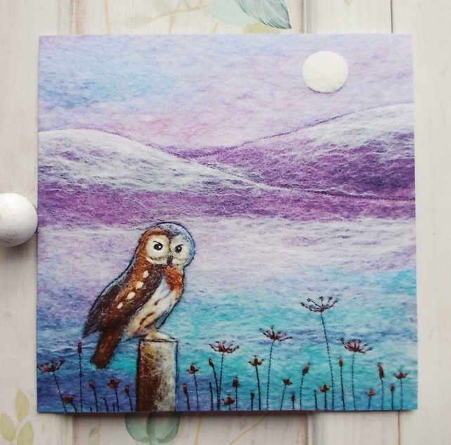 Owl in Winter Printed Greetings Card