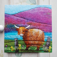 Little Scottish Highland Cow Printed Greetings Card