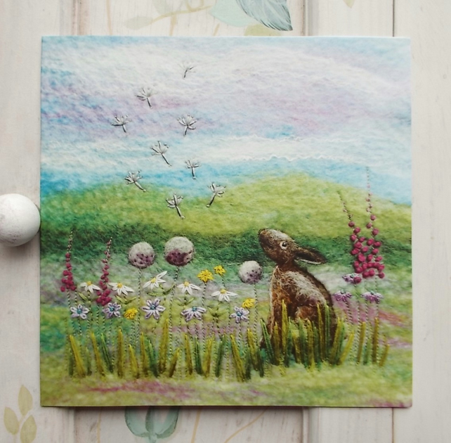 Little Scottish Hare Printed Greetings Card