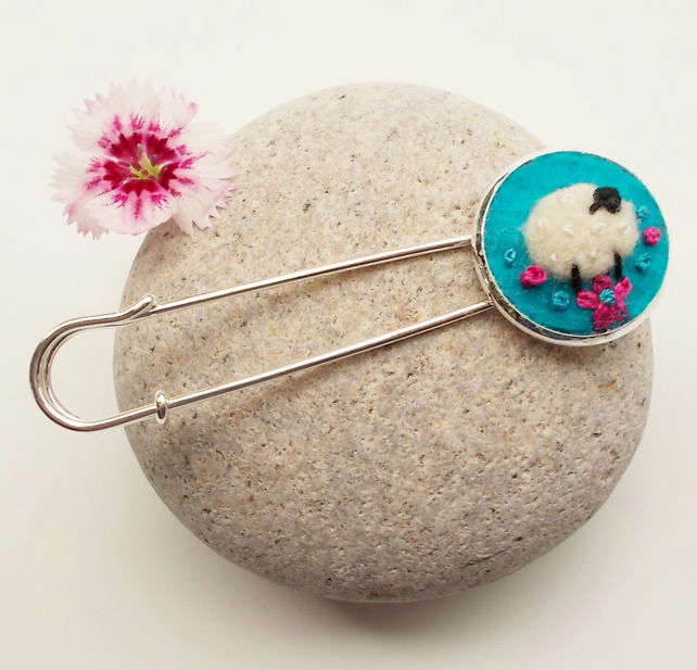 Felted Sheep Shawl Pin, Brooch, Cloak Clasp, Cardigan Closure, Kilt Pin