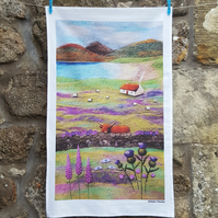 Tea Towel - Highland Cow - Scottish Cottage - Thistle Tea Towel - Purple Poppies