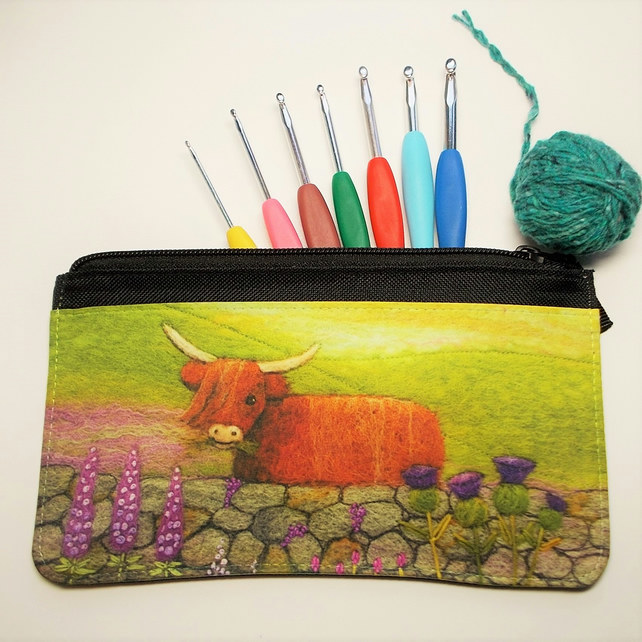 Highland Cow and Thistles Zippered Pouch, Pencil Case, Multipurpose Purse