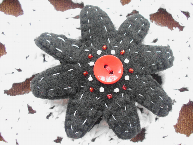 Felt button hairclip or buttonhole embellished with beads in black red and white