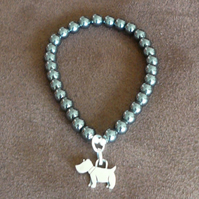 Hematite Bracelet with Sterling Silver Scottie Dog Charm.Gift for Dog Lovers