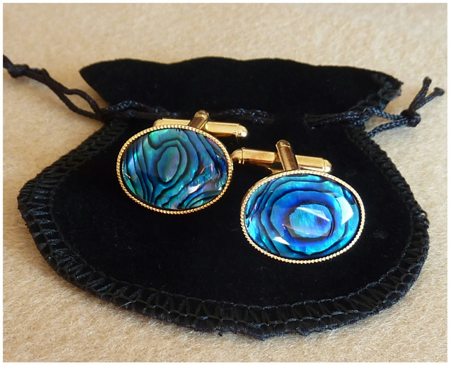 Mens Fashion Cufflinks.Blue Abalone Shell.Gold Plated.Gift for him.