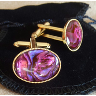 Pink Red Shell Gold Plated Cuff Links. Abalone Shell. Stocking Filler for him