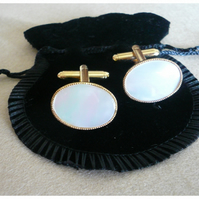 Mother of Pearl Cuff Links Gold.Valentines Gift for him.30th Pearl Wedding.