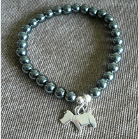 Hematite and Silver Scottie Dog Charm Bracelet .Scotty Lovers Gift.Gift for her.