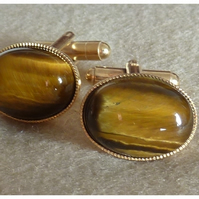 Tigers Eye Cufflinks Gold Plated.Valentines Day Gift for Him.Retro Style