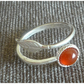 Carnelain Sterling Silver Ring.Adjustable.Red Gemstone.Christmas Gift for Her