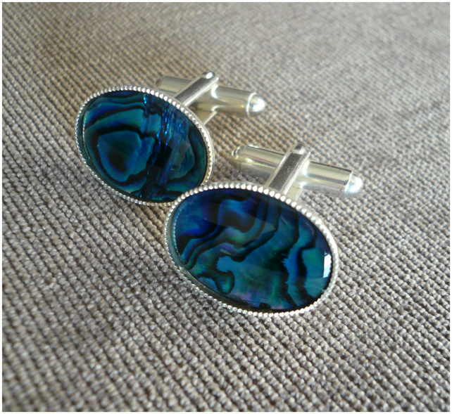 Blue Cufflinks.Abalone Shell.Easter Gift for him.Anniversary Wedding.