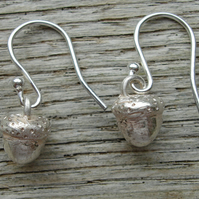 Handmade Solid Silver Acorn Drop Earrings