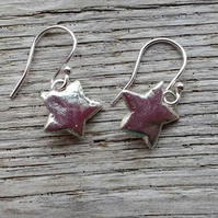 Handmade Solid Silver Star Drop Earrings